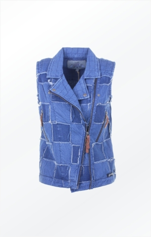 Edgy looking vest in indigo blue. Piece of Blue