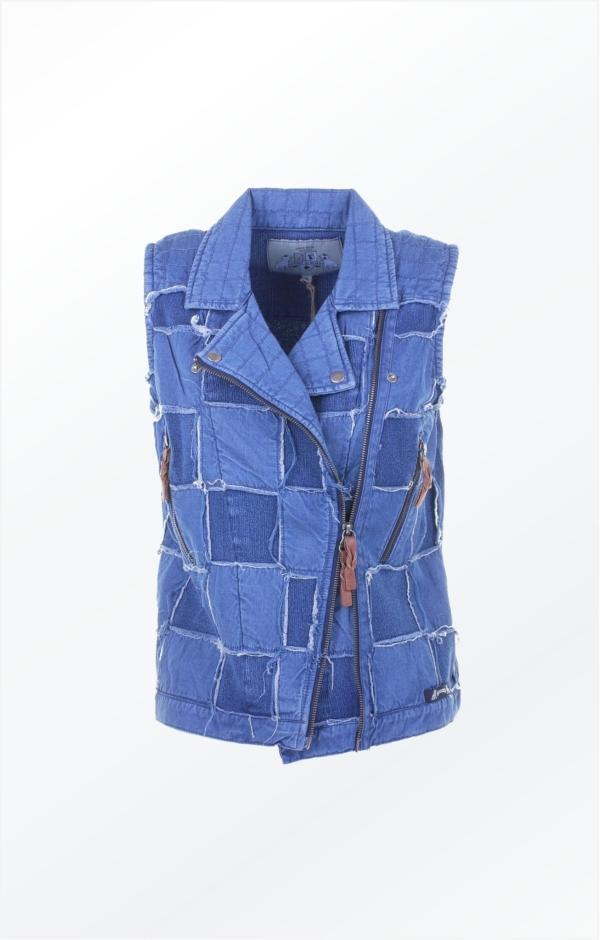 Edgy looking vest in indigo blue. Piece of Blue