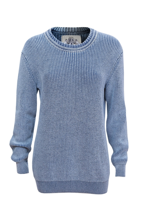 Raised ribbing knit pullover in light indigo blue. Piece of Blue