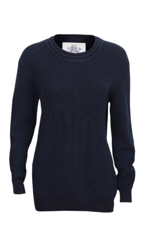 Raised ribbing knit pullover in dark blue. Piece of Blue
