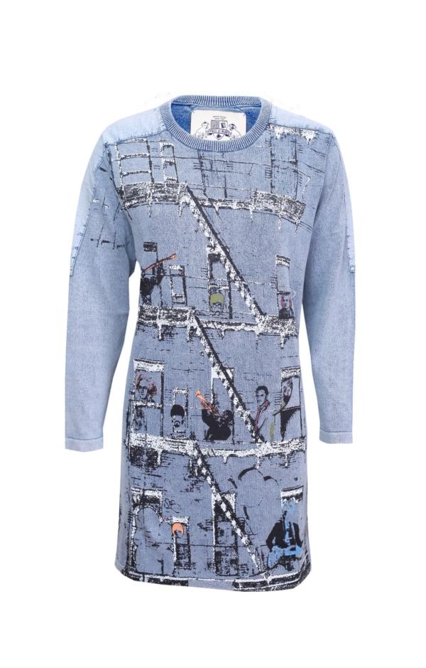 Long-Sleeved Printed Dress in Light Indigo Blue. Piece of Blue.