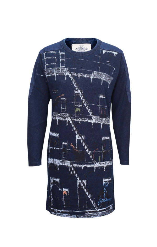 Long-Sleeved Printed Dress in Dark Indigo Blue. Piece of Blue.