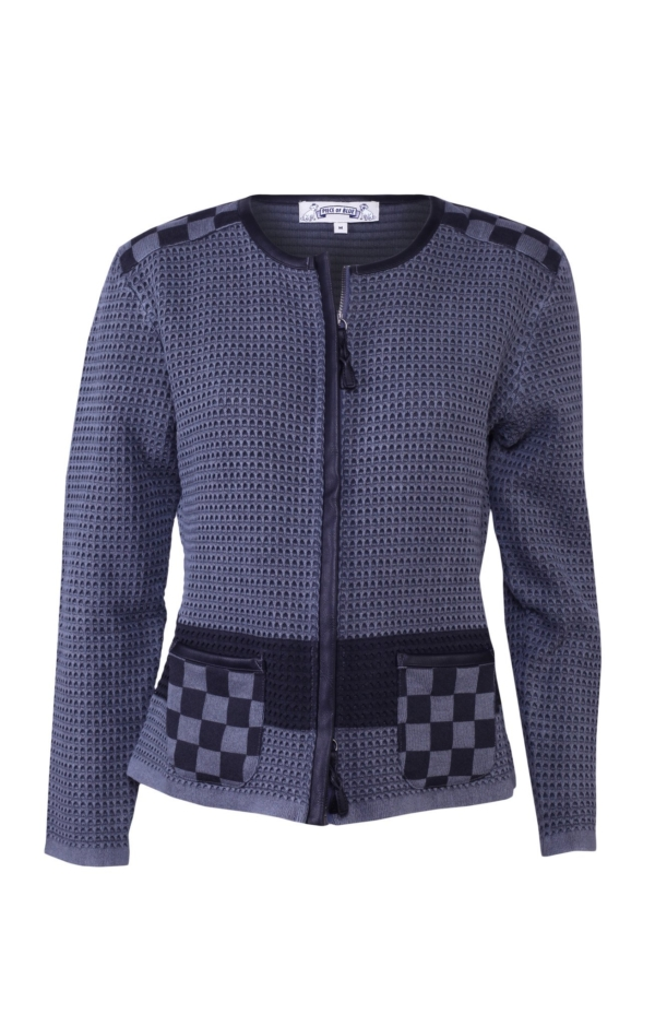 Jacket with print in grey. Piece of Blue