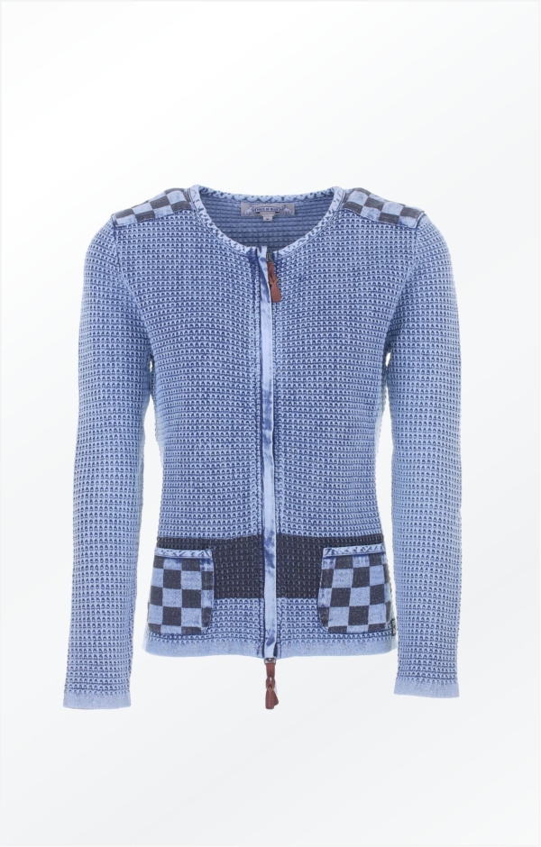 Jacket with print in light indigo blue. Piece of Blue