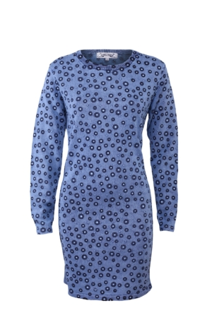 Feminine Printed Dress in Light Indigo Blue. Piece of Blue.