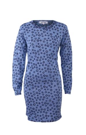 Feminine Printed Dress in Light Indigo Blue. Piece of Blue.