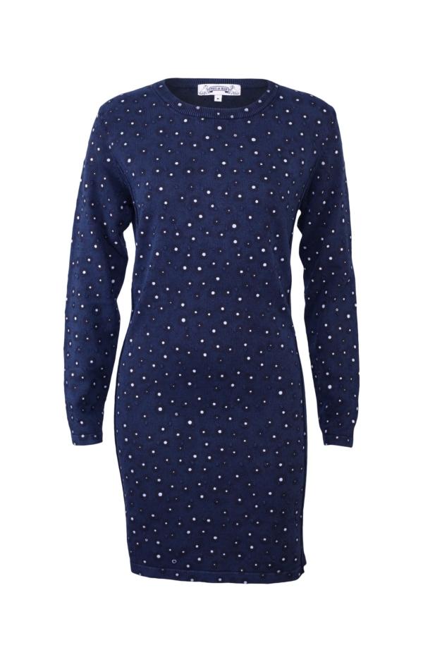 Feminine Printed Dress in Dark Blue. Piece of Blue.