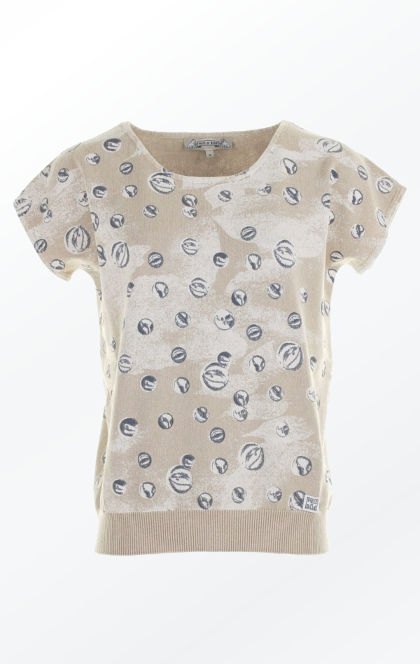 Feminine warm Sand colored marbles printed Pullover from Piece of Blue
