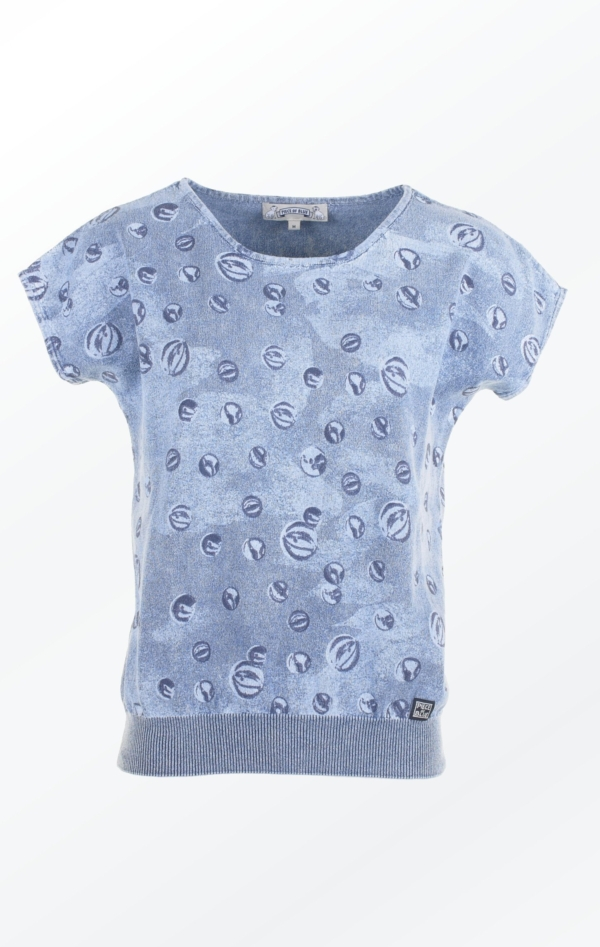 Feminine Light Indigo Blue marbles printed Pullover from Piece of Blue