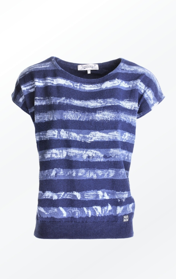 Feminine short-sleeved Indigo Pullover with Stripes for Women from Piece of Blue