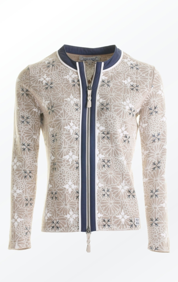Elegant flower Printed Cardigan in Warm Sand from Piece of Blue.