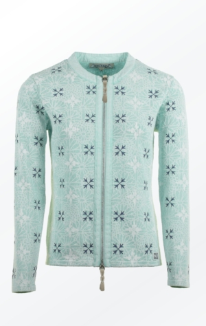 Elegant flower Printed Cardigan in Mint Green for Her from Piece of Blue