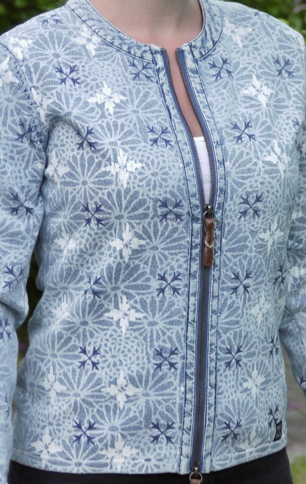 Elegant flower Printed Cardigan in Light Indigo Blue from Piece of Blue on model two