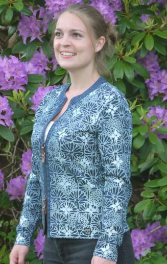 Elegant flower Printed Cardigan in Dark Indigo Blue. From Piece of Blue on model