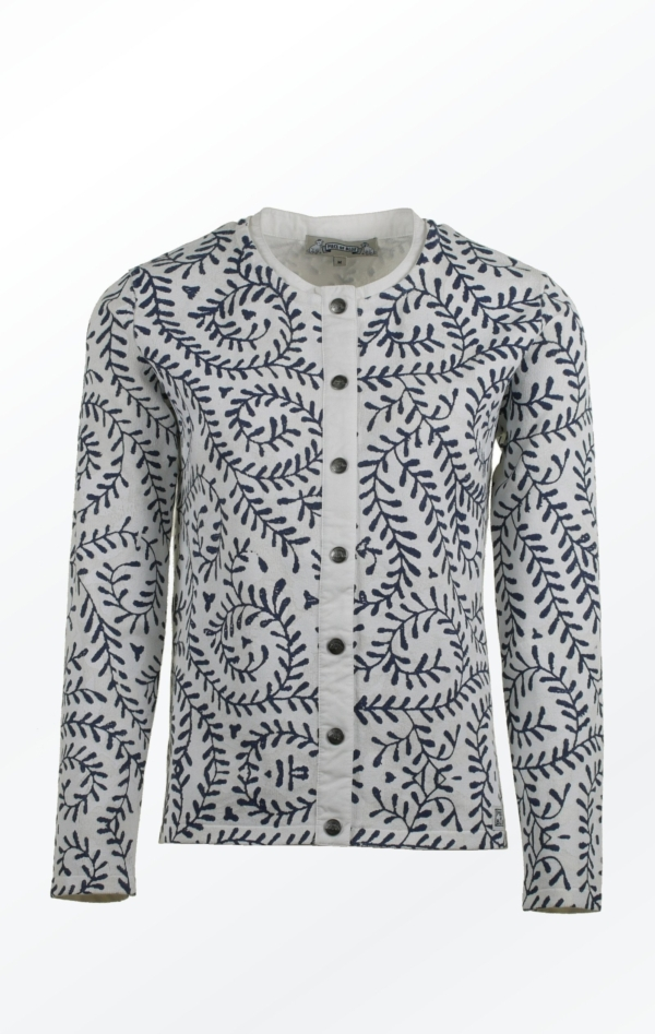 White Cardigan with Print in Dark Blue all over from Piece of Blue