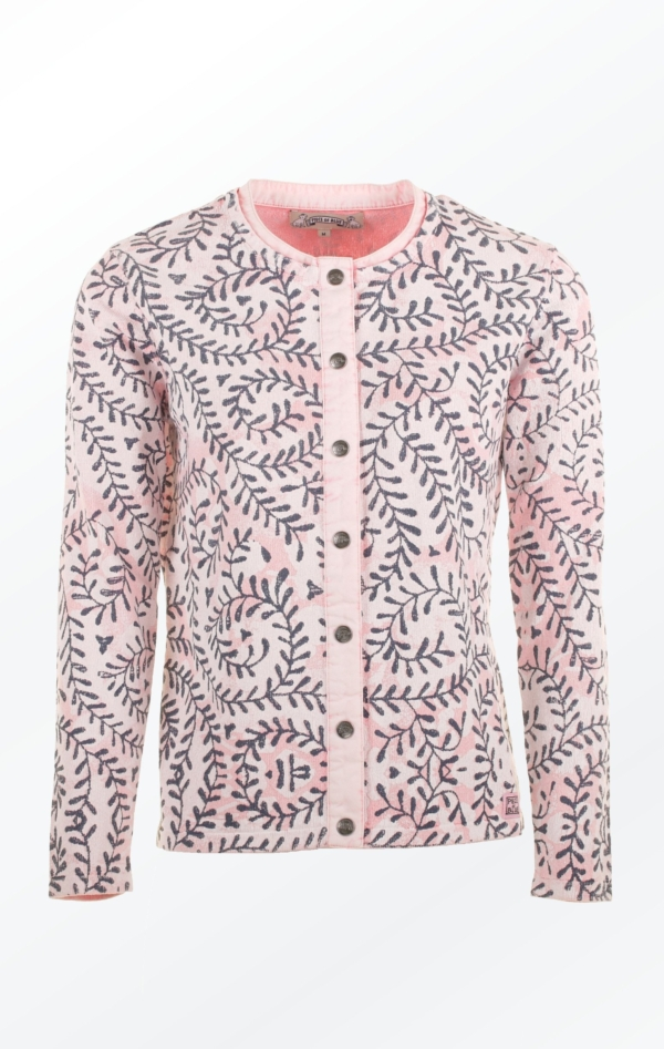 Rose colored Cardigan with Print all over for Women from Piece of Blue