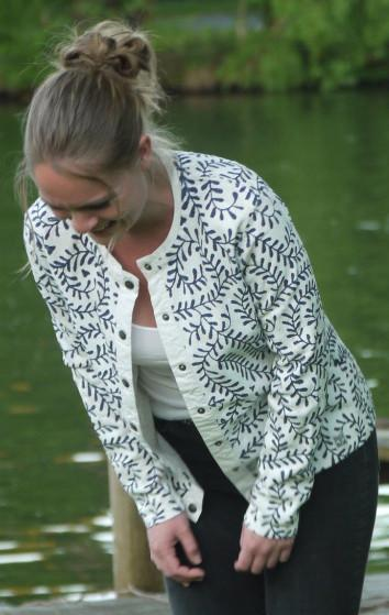 White Cardigan with Print in Dark Blue all over from Piece of Blue on model