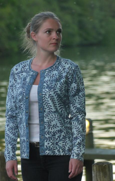 Light Indigo Blue Cardigan with Print in Dark Blue and White all over | Piece of Blue on model
