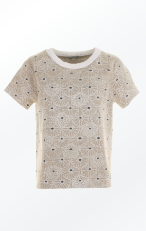 Feminine short Sleeved Pullover in warm sand color with flower Print from Piece of Blue