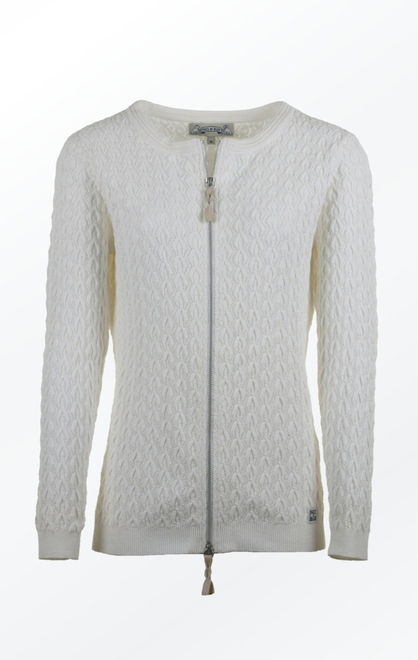 Summer-like Cardigan Knitted in a Feminine Pattern for Women from Piece of Blue