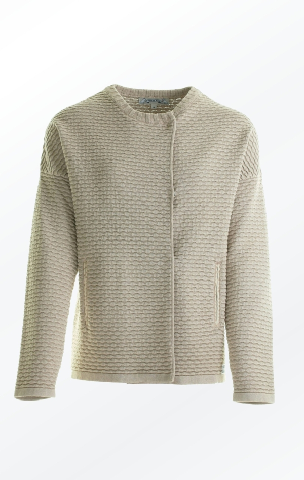 Knit Jacket in Warm Sand color with Oversized Shoulders for Women from Piece of Blue