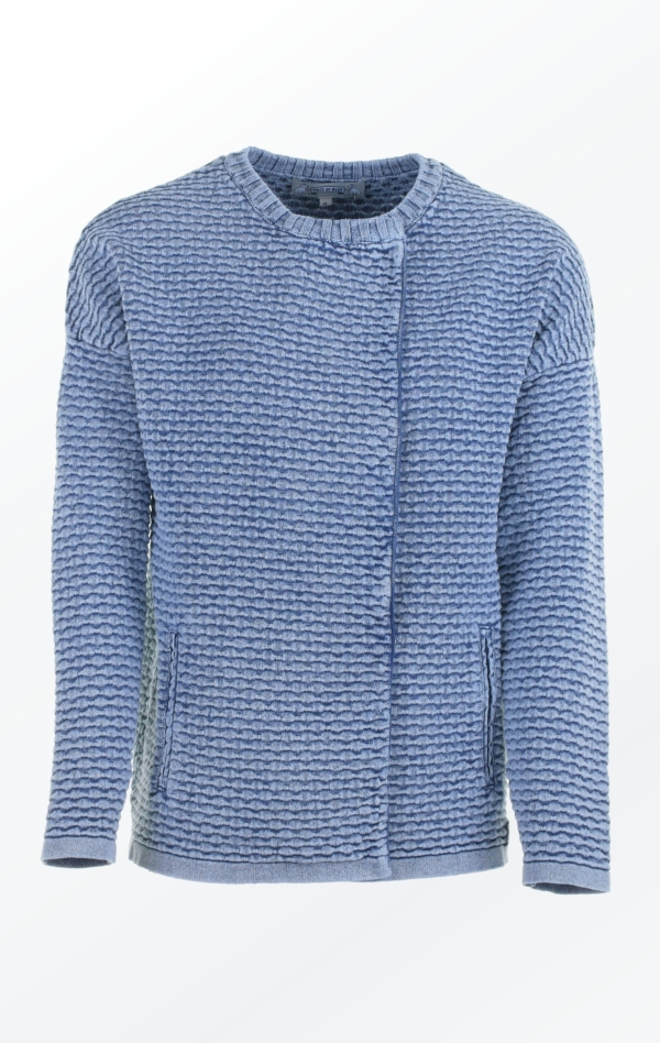 Knit Jacket in Light Indigo Blue with Oversized Shoulders for Women from Piece of Blue