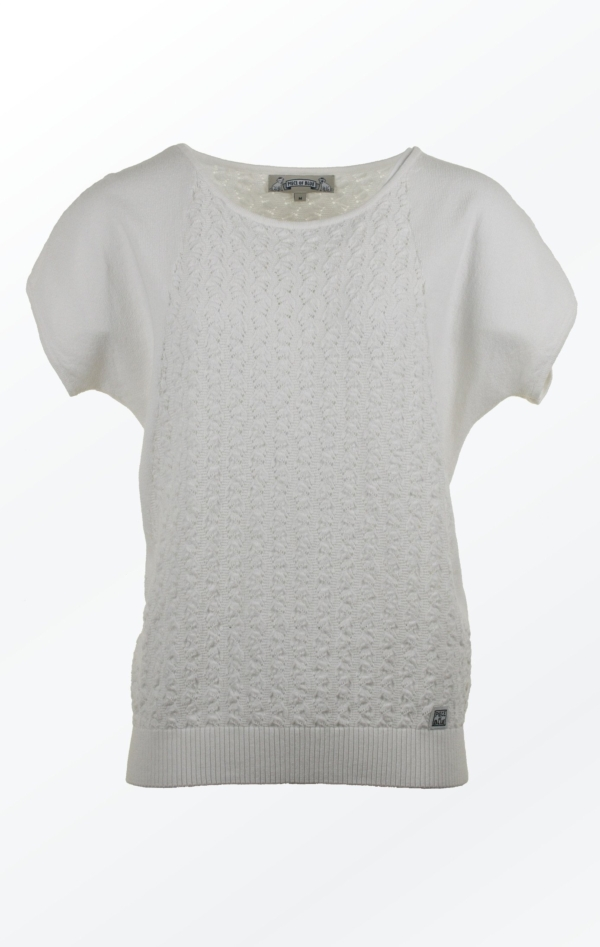 Feminine and Relaxed wing sleeved White Pullover for Women from Piece of Blue