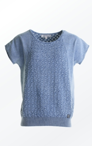 Feminine and Relaxed wing sleeved Pullover in light indigo blue for Women from Piece of Blue
