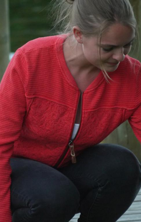 Cool and Feminine Cardigan for Women in Red from  Piece of Blue  on model close up