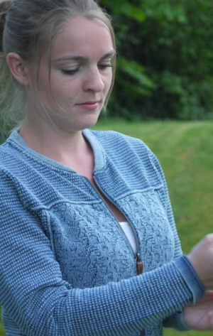 Cool and Feminine Cardigan for Women in Light Indigo Blue from Piece of Blue on model close up