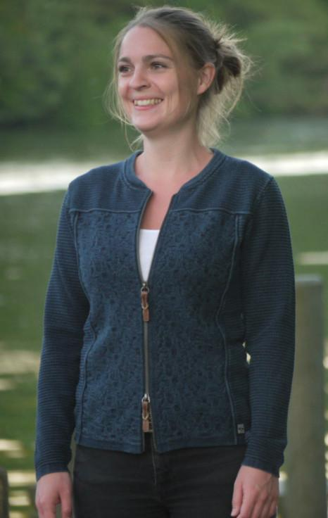 Cool and Feminine Cardigan for Women in Dark Indigo Blue from Piece of Blue on model