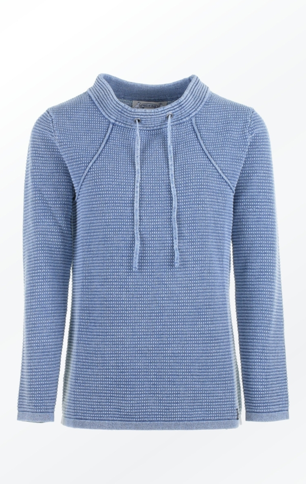 Light Indigo Blue Pullover in Feminine Knit Pattern for Her from Piece of Blue