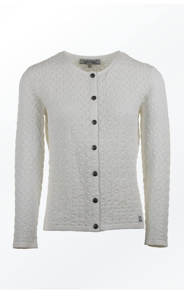 White Cardigan in a wimsy wumsy Knit Pattern for Her from Piece of Blue