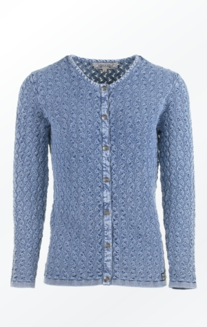 Light Indigo Blue Cardigan in a wimsy wumsy Knit Pattern for Her from Piece of Blue