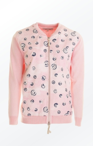Feminine Rose Colored Printed Bumper Jacket for Women from Piece of Blue