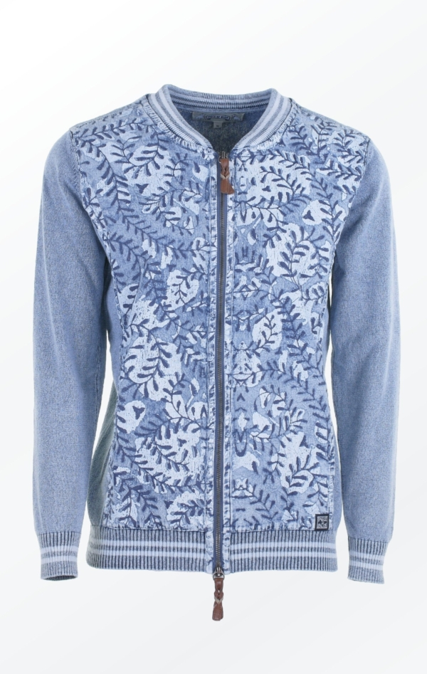 Feminine Light Indigo Blue Printed Bumper Jacket for Women from Piece of Blue