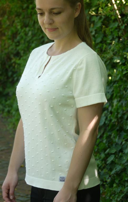 Easy to wear Feminine Short Sleeved Pullover for Women from Piece of Blue on model two
