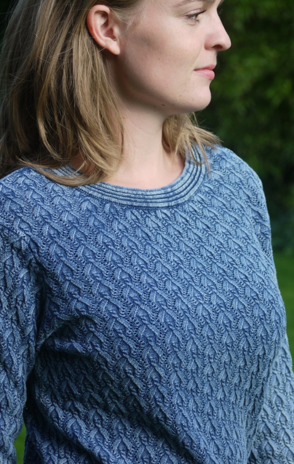 Elegant Light Indigo Blue Pullover in Pretty Knit Pattern from Piece of Blue. On model.