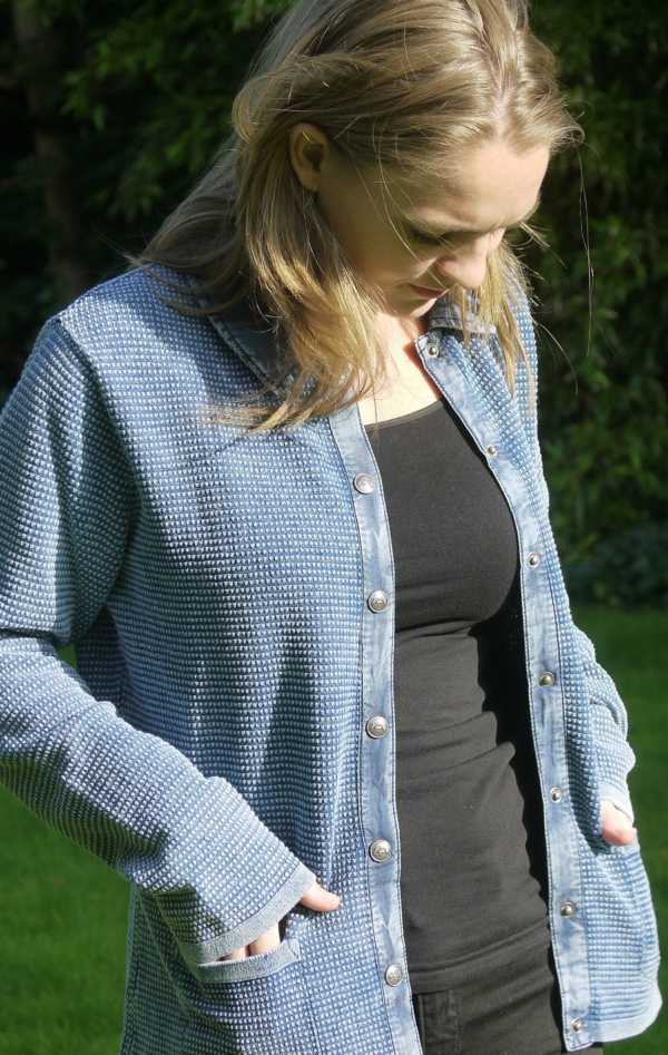 Classic Light Indigo Blue Cardigan with Collar for Women from Piece of Blue. On model 1.