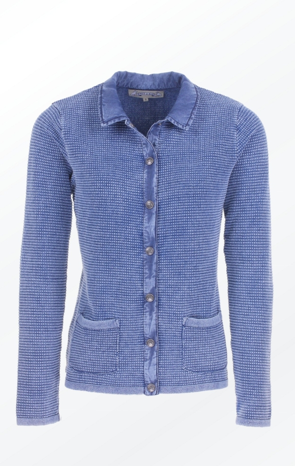 Classic Light Indigo Blue Cardigan with Collar for Women from Piece of Blue