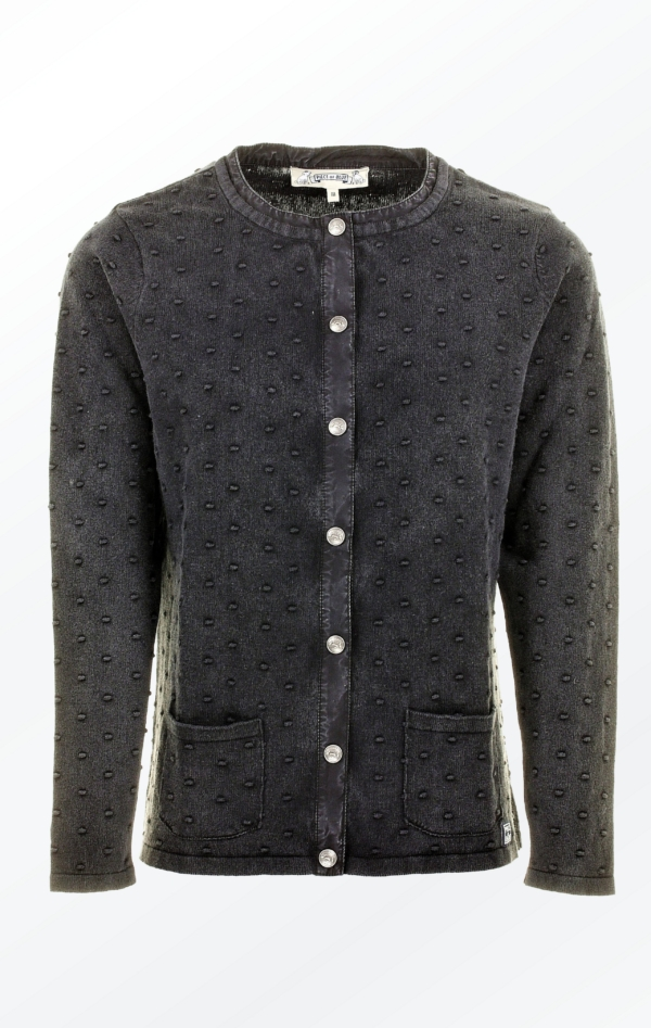 Black Grey Cardigan with Knitted Dot Pattern for Women from Piece of Blue