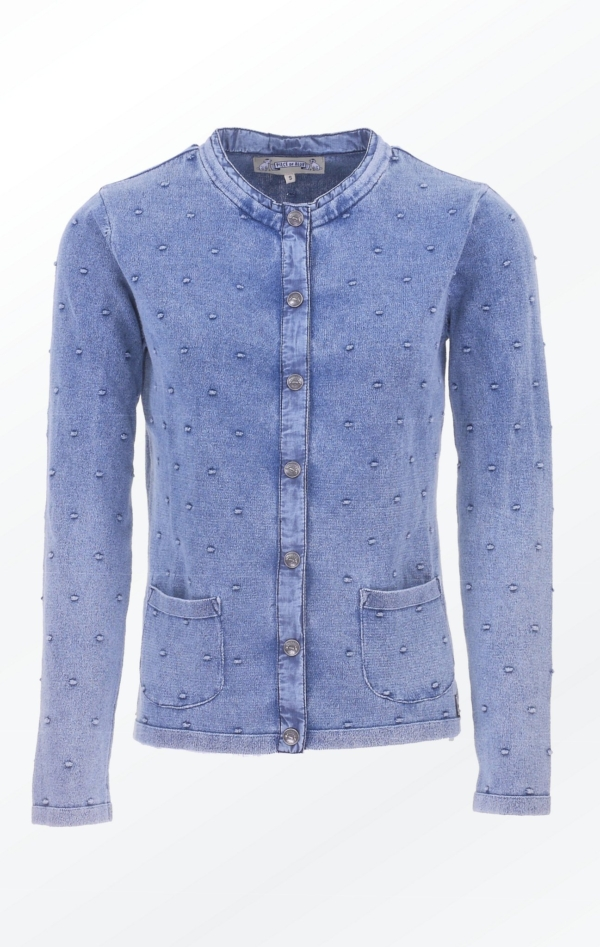Light Indigo Blue Cardigan with Knitted Dot Pattern for Women from Piece of Blue