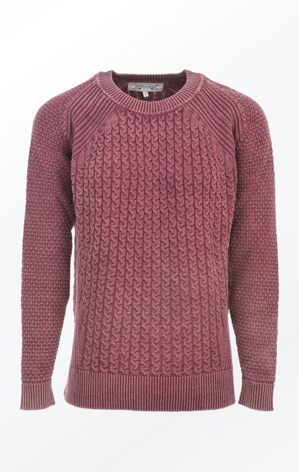 Dusty Burgundy Red Loose Fit Pullover with Knitted Cables for Women from Piece of Blue
