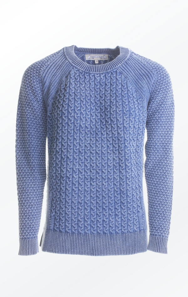 Light Indigo Blue Loose Fit Pullover with Knitted Cables for Women from Piece of Blue