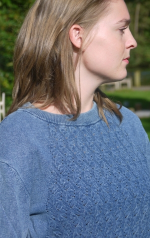 Simple and Elegant Light Indigo Blue O-Neck Pullover for Women from Piece of Blue. On model.