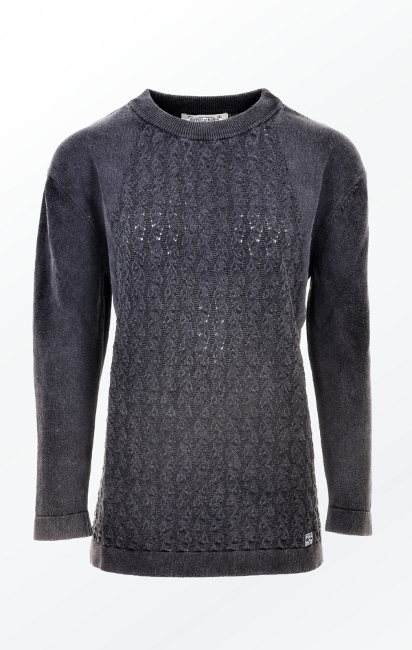 Simple and Elegant Black Grey O-Neck Pullover for Women from Piece of Blue