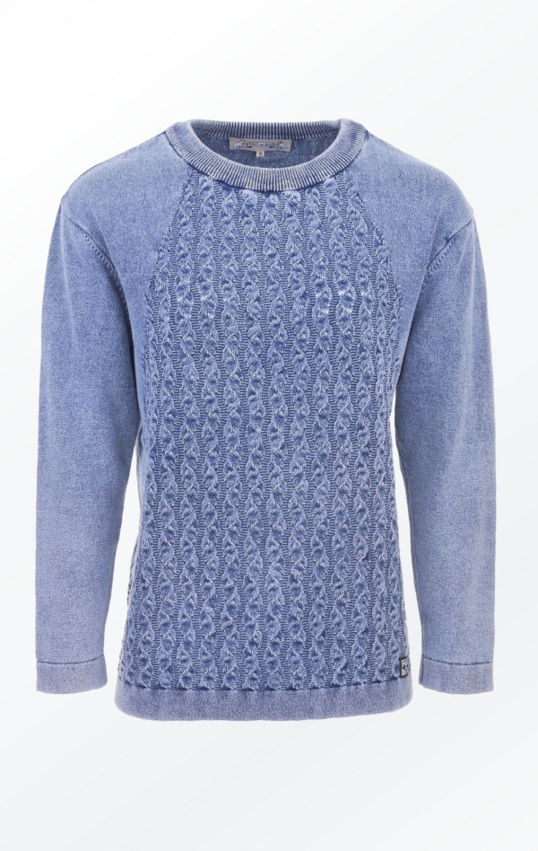 Simple and Elegant Light Indigo Blue O-Neck Pullover for Women from Piece of Blue