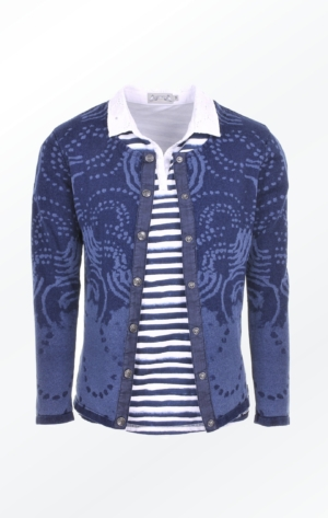 Indigo Blue laser Printed Cardigan for Women over a striped t-shirt from Piece of Blue