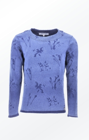 Feminine Indigo Blue Printed Pullover for Women from Piece of Blue