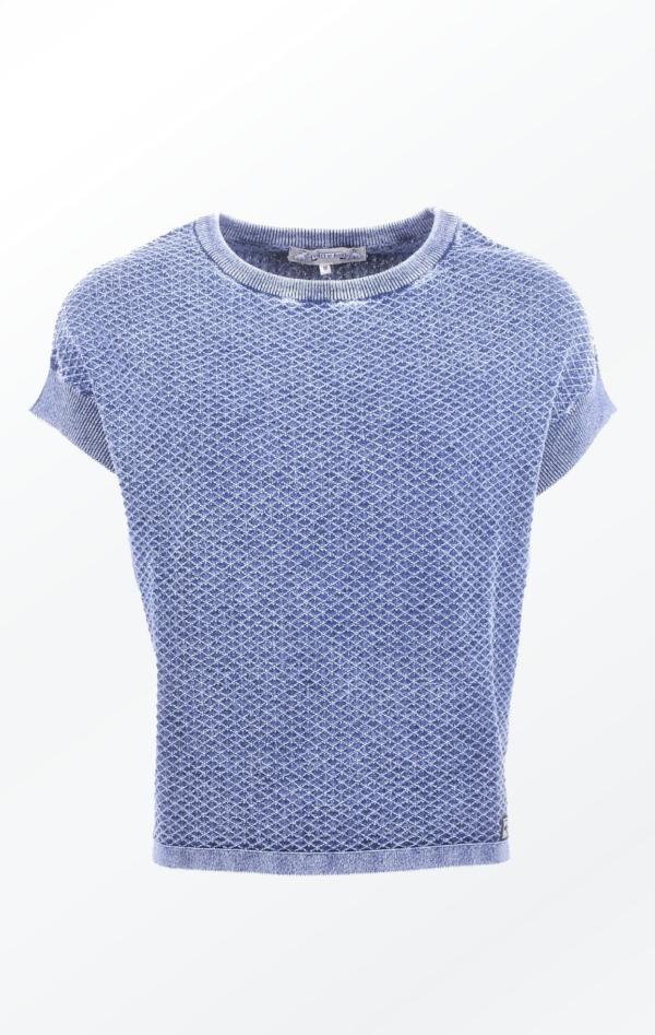 Feminine Short-Sleeved Indigo Blue Knitted Pullover for Women from Piece of Blue
